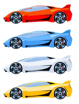 Conjunto de cores diferentes de vista lateral de carros desportivos