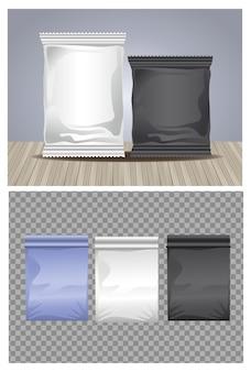 Conjunto de cores, embalagens, sacos e sachês, ícones de produtos