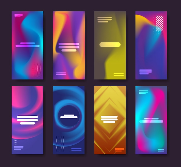 Conjunto de cores fluidas fundo dinâmico colorido gradiente abstrato banners coleção fluindo líquido