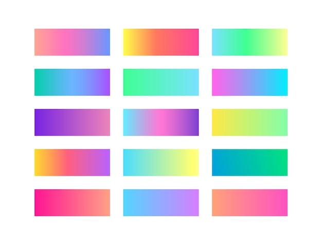 Conjunto de cores gradiente suave na moda pastel. paleta de amostras de gradiente. fundo brilhante do vetor