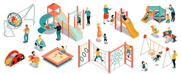 Conjunto de cores isométricas de playground com equipamentos isolados e brinquedos com crianças e pais