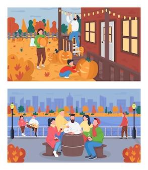 Conjunto de cores planas da atividade de fim de semana outono. as pessoas bebem. pais com criança decoram o quintal para o halloween. personagens de desenhos animados 2d de amigos com paisagem urbana na coleção de fundo
