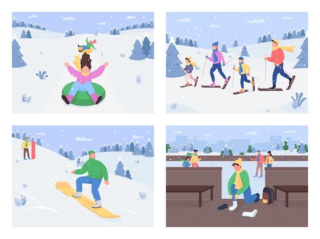 Conjunto de cores planas de atividades divertidas de inverno