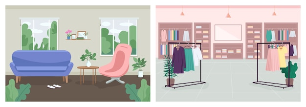 Conjunto de cores planas de decoração de interiores. consultoria, consultório de terapia. boutique de tecidos. sala de estar. loja de moda. coleção de interiores de desenhos animados em 2d para empório de roupas e sala de espera