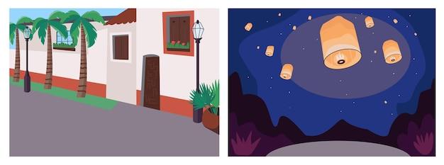 Conjunto de cores planas de eventos recreativos. rua mexicana. calçada americana. lanternas de luz. paisagem 2d dos desenhos animados noturnos e diurnos com paisagem urbana e noturna na coleção de fundo