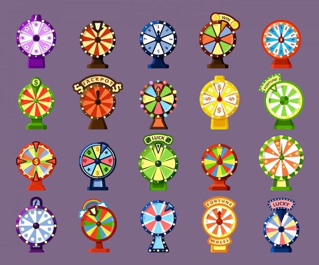 Conjunto de cores planas de rodas da sorte