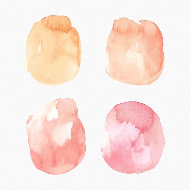 Conjunto de cores quentes mancha respingo aquarela