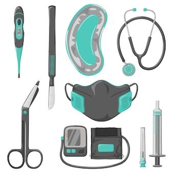 Conjunto de cores vetoriais de instrumentos médicos em estilo cartoon, isolado em um fundo branco