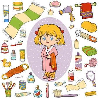 Conjunto de cores vetoriais de objetos de banheiro, menina e roupão de banho