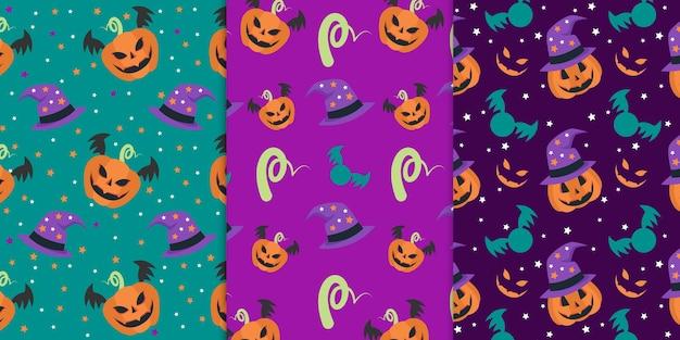 Conjunto de cores vibrantes de padrão sem emenda de abóbora de rosto assustador para feriados de celebração de halloween