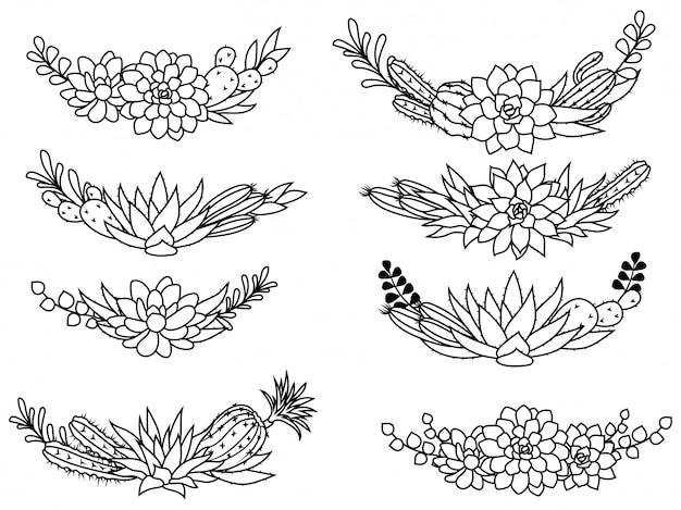 Conjunto de coroa de cactos. coleção de elegantes molduras tropicais. conjunto de plantas exóticas.