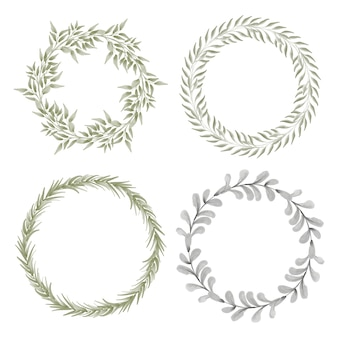 Conjunto de coroa de flores com moldura de círculo de folhas pintadas à mão