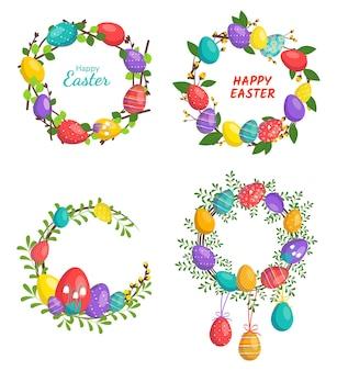 Conjunto de coroa de flores de páscoa feliz em cores brilhantes decoração festiva com flores de elementos de primavera e ovos.