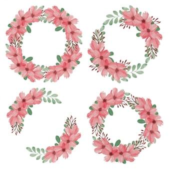 Conjunto de coroa de flores em aquarela flor de cerejeira