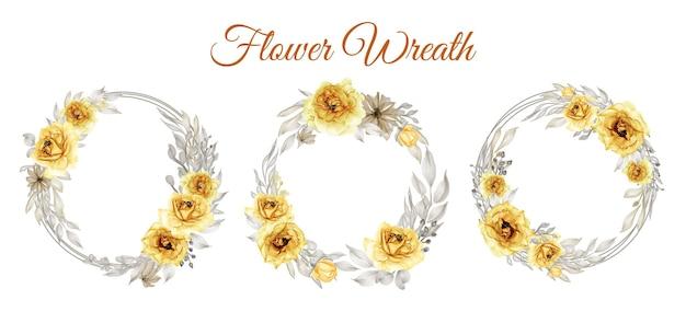 Conjunto de coroa de flores em aquarela rosa ouro amarelo