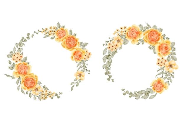 Conjunto de coroa de flores em aquarela rosa talitha amarelo laranja e folhas