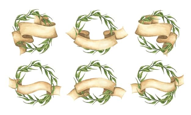 Conjunto de coroa de folhas verdes com fita