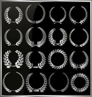 Conjunto de coroa de louros de prata sobre o fundo preto
