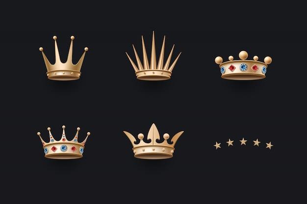 Conjunto de coroa de ouro real e ícones de cinco estrelas