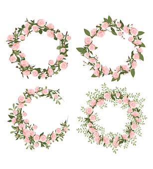 Conjunto de coroa de peônias. moldura redonda, lindas flores cor de rosa e folhas.