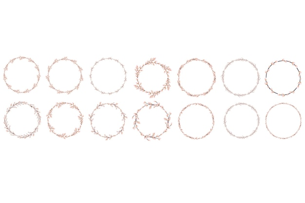 Conjunto de coroa de salgueiro. coroa de salgueiro redonda de páscoa. ilustração vetorial