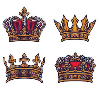 Conjunto de coroa do rei, linha de mão desenhada com cor digital