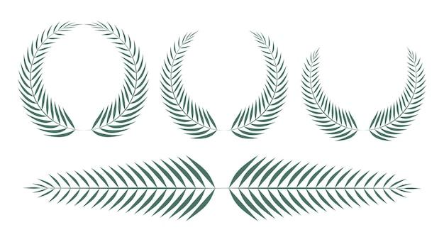 Conjunto de coroas circulares de folhas de palmeira