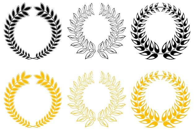 Conjunto de coroas de louros de ouro e preto