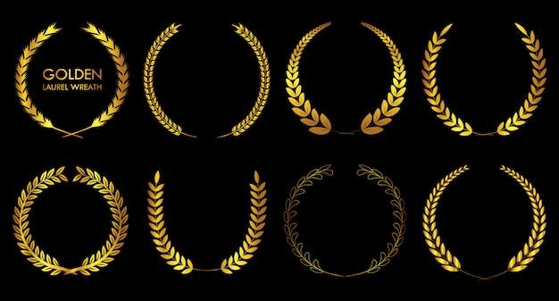 Conjunto de coroas de louros douradas