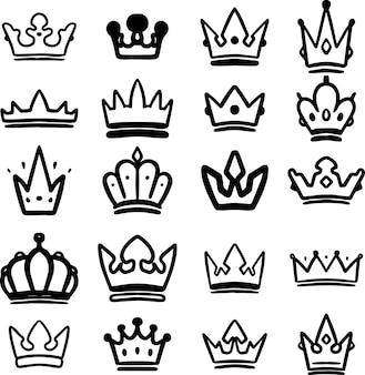 Conjunto de coroas de mão desenhada isoladas no fundo branco. elemento de design para cartaz, cartão, banner, camiseta, emblema, sinal. ilustração vetorial