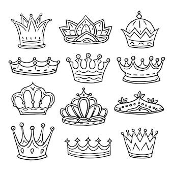 Conjunto de coroas de mão desenhada