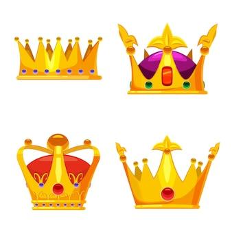 Conjunto de coroas de ouro joias reais, símbolo do rei, rainha e princesa com pedras preciosas e diamantes