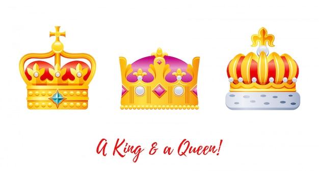 Conjunto de coroas de ouro rei e rainha dos desenhos animados.
