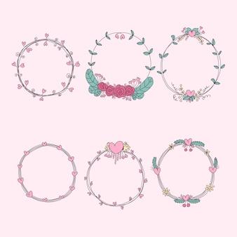 Conjunto de coroas florais desenhadas à mão