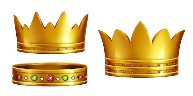 Conjunto de coroas reais de ouro decoradas com pedras preciosas
