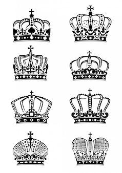 Conjunto de coroas reais heráldicas vintage