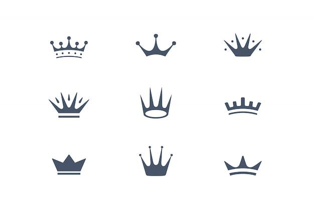 Conjunto de coroas reais, ícones e emblemas