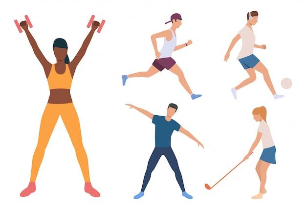 Conjunto de corredor, jogador de futebol e iogue