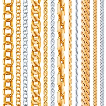 Conjunto de correntes de ouro e prata. link metálico, elemento brilhante, objeto de ferro forte