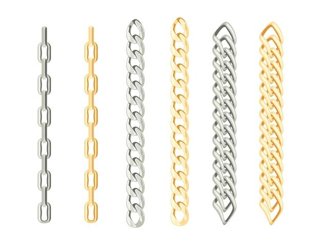 Conjunto de correntes de ouro e prata.
