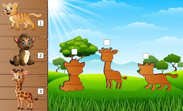Conjunto de correspondência de jogo de animais selvagens