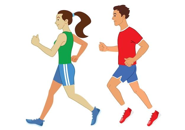 Conjunto de corrida de homem e mulher