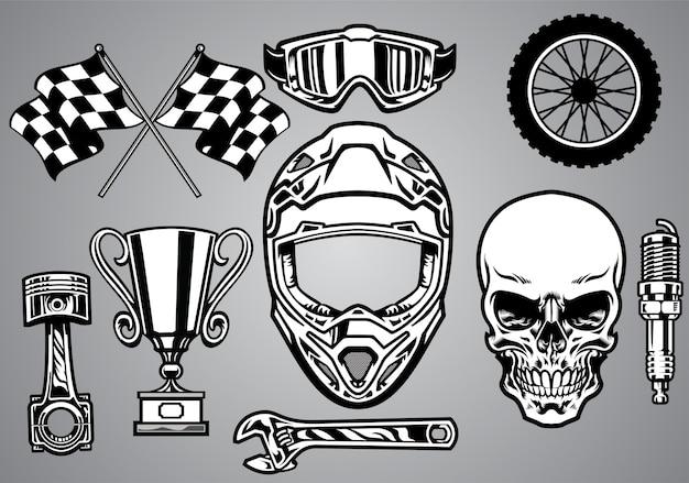 Conjunto de corrida de motocross com caveira
