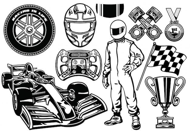 Conjunto de corridas de fórmula preto e branco