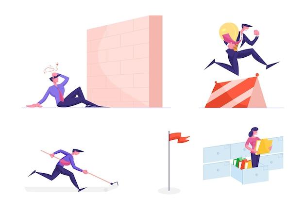 Conjunto de corridas de personagens de negócios pela liderança