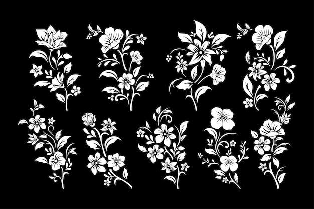 Conjunto de corte de flores preto e branco