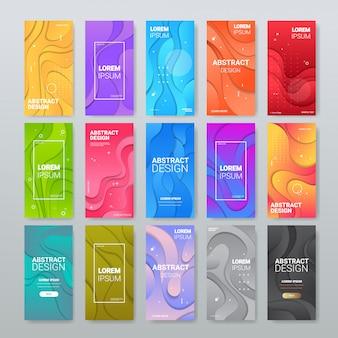 Conjunto de corte de papel abstrato banners coloridos ondas escultura arte conceito layout ondulado para apresentação de panfleto ou espaço de cópia de cartaz