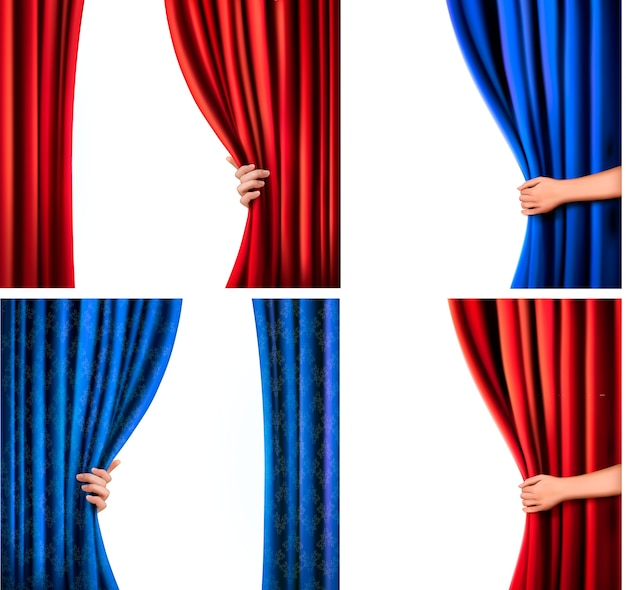 Conjunto de cortina de veludo vermelho e azul e mão