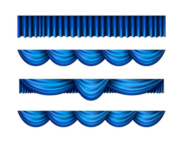 Conjunto de cortinas azuis pelmet