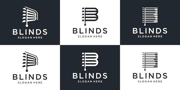 Conjunto de cortinas criativas com coleção de design de logotipo da letra b.